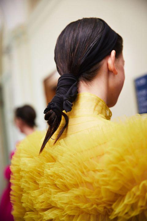 Hair, Yellow, Hairstyle, Beauty, Fashion, Black hair, Long hair, Hair coloring, Photography, Ear,
