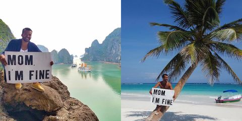 This man travels the world reminding his mum that he's fine