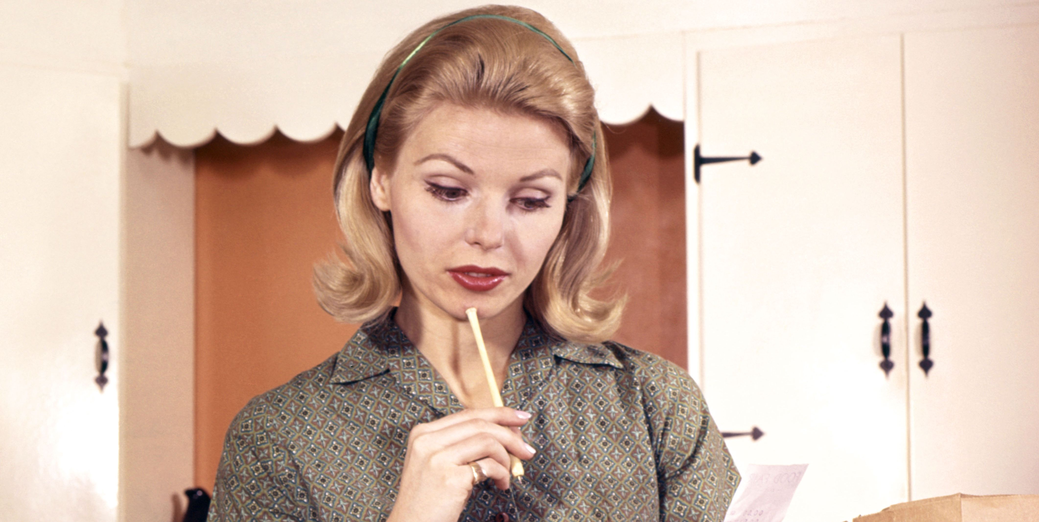 Blonde Woman Housewife In Kitchen Compare Cash Reg