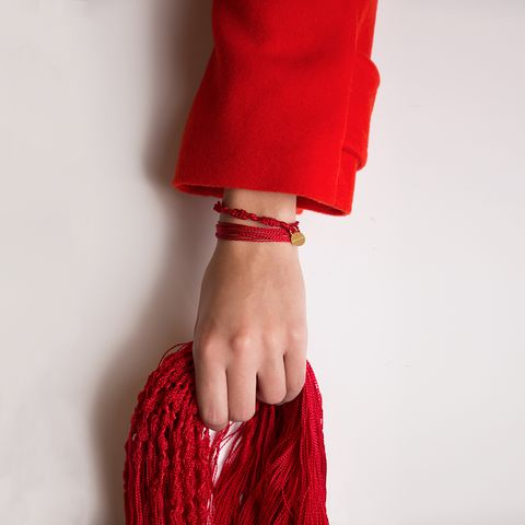 Red, Clothing, Maroon, Fashion, Outerwear, Hand, Dress, Wool, Finger, Neck,