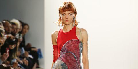 Fashion model, Fashion show, Fashion, Runway, Clothing, Shoulder, Blond, Fashion design, Public event, Model,