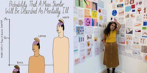 Mona Chalabi tussen haar illustraties