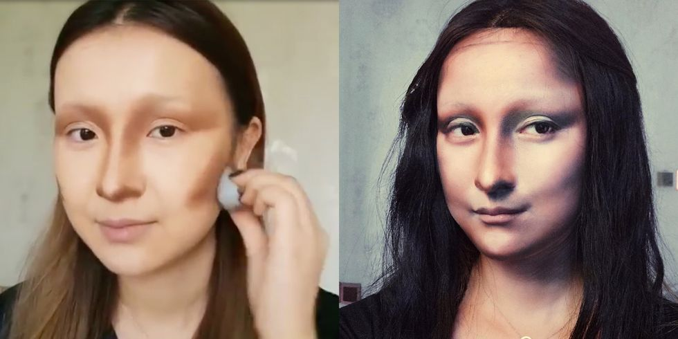 Woman with Mona Lisa makeup