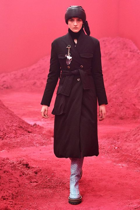 Clothing, Red, Overcoat, Coat, Pink, Fashion, Trench coat, Outerwear, Magenta, Formal wear,