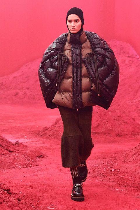 Clothing, Red, Fashion, Outerwear, Fashion show, Fur, Fur clothing, Fashion design, Runway, Jacket,