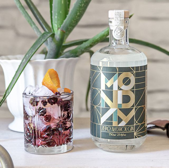 monday non alcoholic gin cocktail and bottle