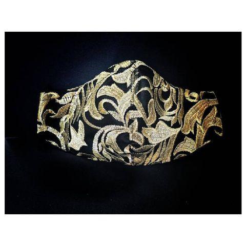 mondkapjes kerst feestdagen elegant zwart en goud geborduurd gezichtsmasker