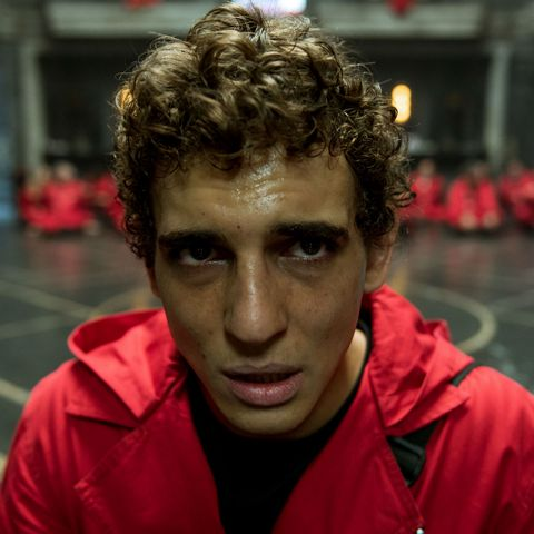 Close-up of Miguel Herrán as Rio in Netflix's Money Heist: Part 4
