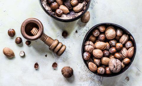 Hazelnut, Food, Cuisine, Mozartkugel, Nut, Still life photography, Allspice, Chocolate, Confectionery, Walnut,