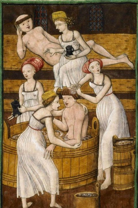 monks in a bath, middle ages, slip dress, medieval