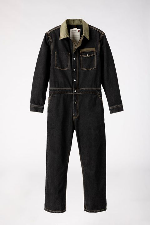 Clothing, Denim, Jeans, Outerwear, Sleeve, One-piece garment, Textile, Pocket, Overall, Trousers,