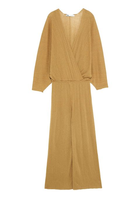 Clothing, Dress, Sleeve, Outerwear, Beige, Yellow, Robe, Day dress, Costume, Wrap,
