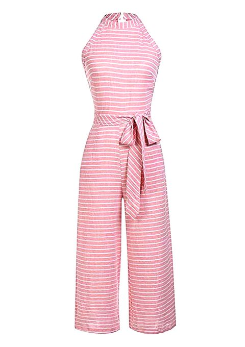 Clothing, Pink, Dress, Day dress, One-piece garment, Overall, Sleeve, Trousers, Magenta, Pattern,