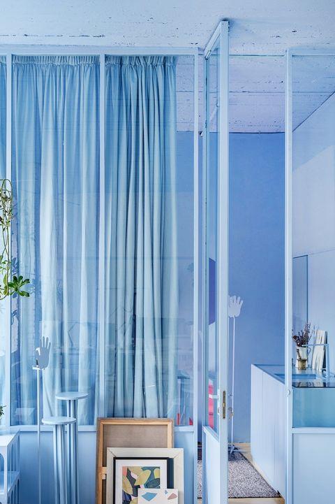 Curtain, Blue, Room, Interior design, Furniture, Living room, Window treatment, Turquoise, Textile, Floor,