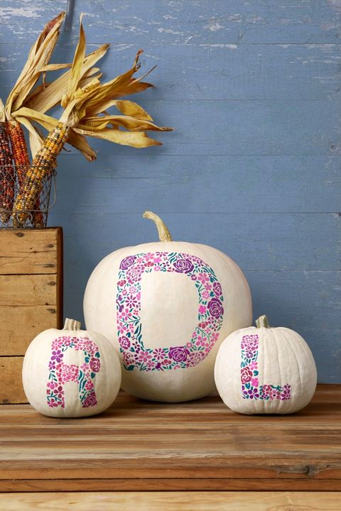 white pumpkin décor ideas monogram