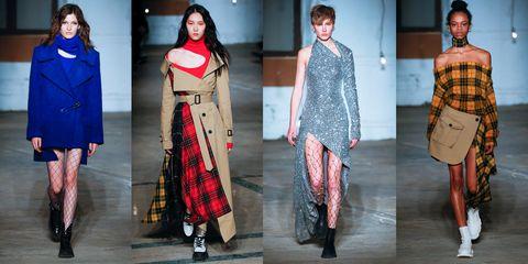 Fashion model, Clothing, Fashion, Tartan, Pattern, Plaid, Coat, Design, Fashion show, Outerwear,