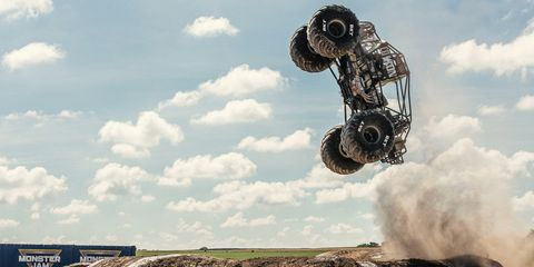 Automotive tire, Tire, Transport, Sky, Cloud, Stunt performer, Flip (acrobatic), Auto part, Stunt, Vehicle,