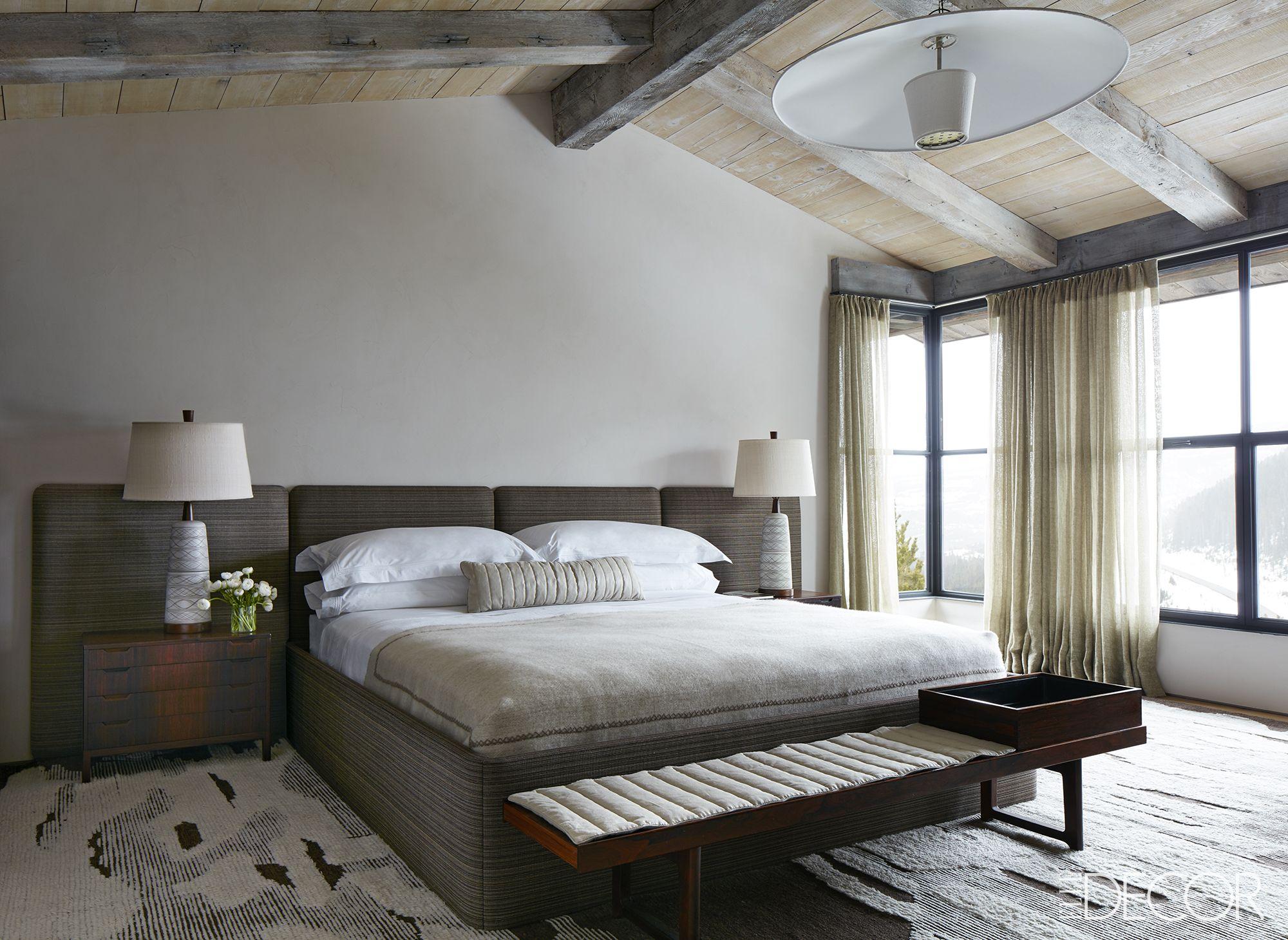 Rustic modern master bedroom in Montana ski chalet on Hello Lovely