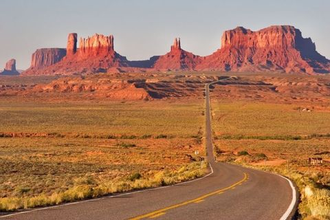 Mountainous landforms, Butte, Badlands, Natural landscape, Formation, Landmark, Rock, Road, Escarpment, Geology,