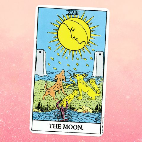the tarot card the moon, showing a scorpion and two dogwolffox type animals looking up at a moon