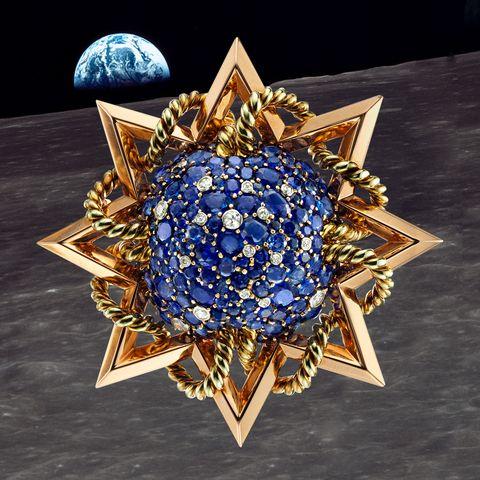 Cobalt blue, Fashion accessory, Diamond, Sapphire, Jewellery, Gemstone, Electric blue, Symmetry, Brooch, Space,