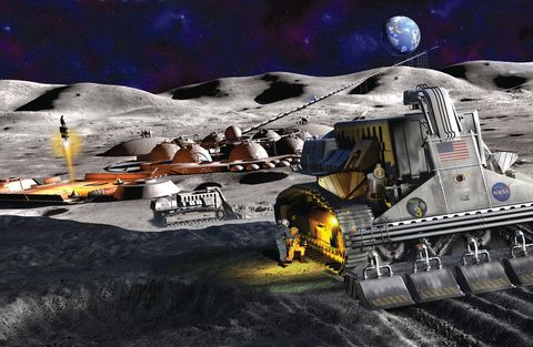 an illustration of a future human settlement on the surface of the moon