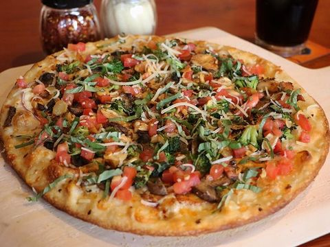 Food, Cuisine, Pizza, Baked goods, Dish, Ingredient, Serveware, Recipe, Finger food, Pizza cheese,