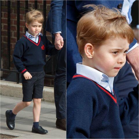Child, Uniform, School uniform, Hairstyle, Blond, Toddler, Outerwear, Jacket, Tie, Electric blue,
