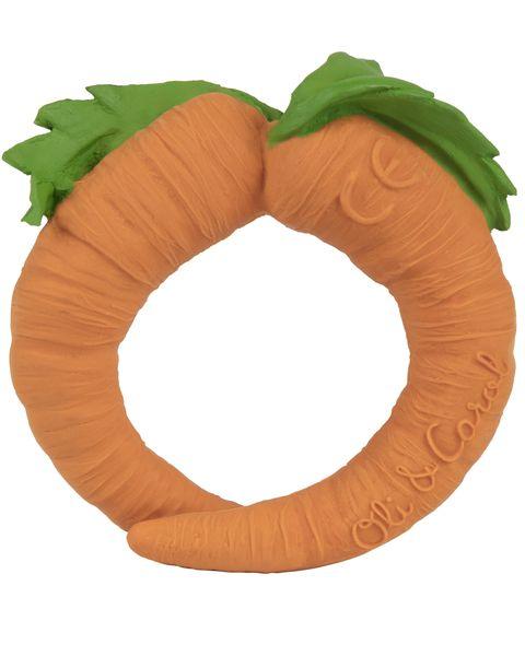 Mordedor ecológico con forma de zanahoria