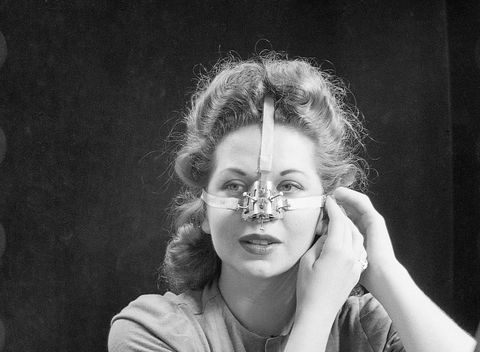 woman modeling nose shaping device