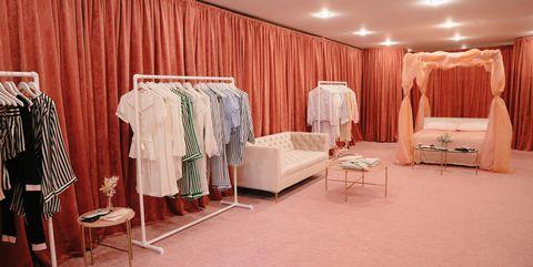 Room, Interior design, Curtain, Furniture, Ceiling, Building, Boutique, Textile, Dress, House,