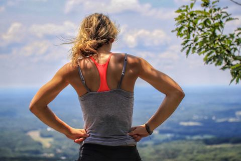 woman at top of hill
