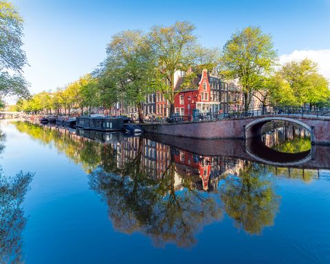 morning colors and architecture in amsterdam, the netherlands