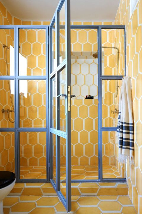 Yellow, Room, Door, Architecture, Metal, Building, Glass, Interior design,