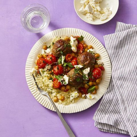 moroccan meatballs with roasted tomatoes and chickpeas