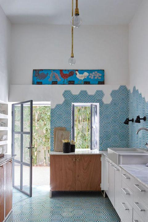 Room, Interior design, Property, Blue, Furniture, Floor, Tile, Building, Ceiling, House,