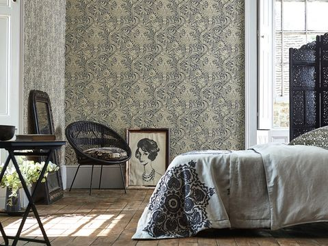 Wall, Furniture, Curtain, Room, Interior design, Wallpaper, Living room, Floor, Pattern, Window treatment,