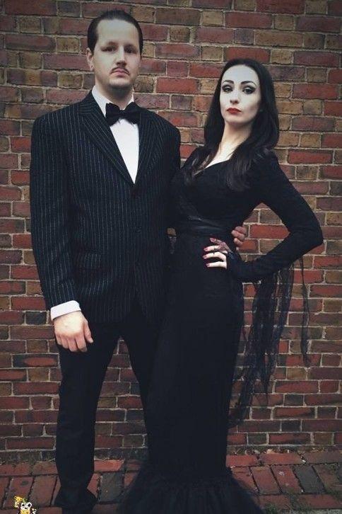 diy addams family couple costume