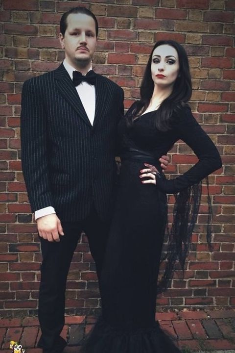 diy addams family couple costume
