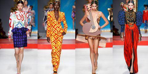 Fashion model, Fashion, Fashion show, Clothing, Runway, Fashion design, Orange, Public event, Footwear, Event,