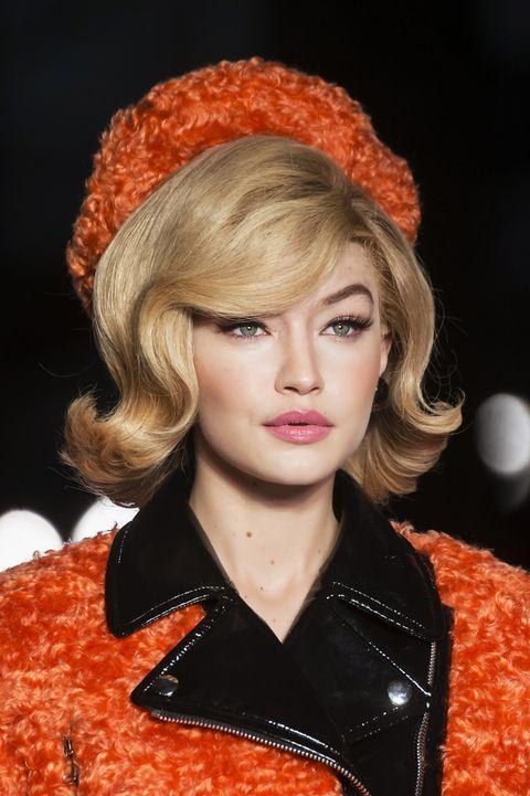 Hair, Hairstyle, Orange, Beauty, Fashion, Lip, Headgear, Hair coloring, Blond, Ear,
