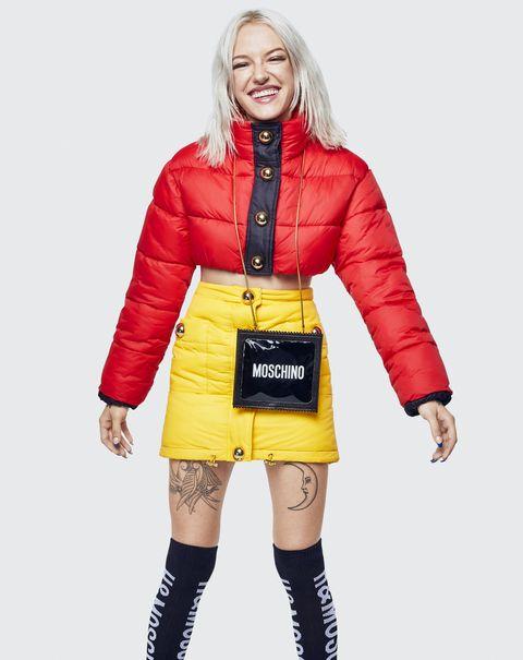 Clothing, Yellow, Outerwear, Jacket, Fashion, Orange, Coat, Hood, Footwear, Joint,
