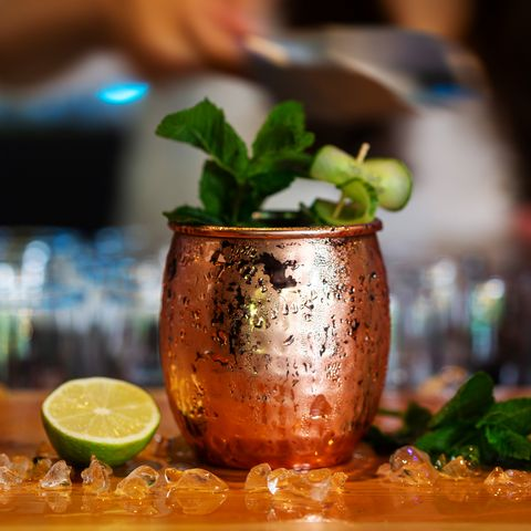 moscow mule cocktail served in a copper mug