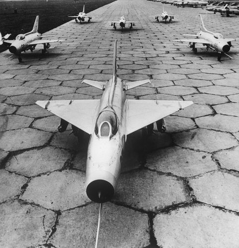 soviet aircraft ready for takeoff