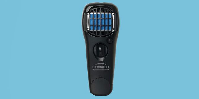 thermacell mosquito repeller gadget in black with light blue background