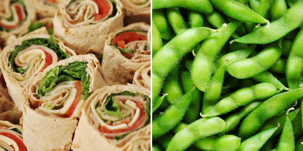 turkey roll up and edamame