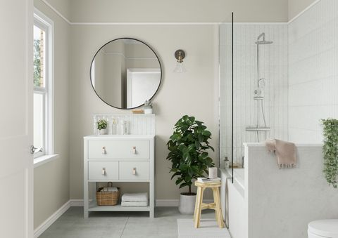bathroom vanity painted in 'egyptian cotton' by dulux