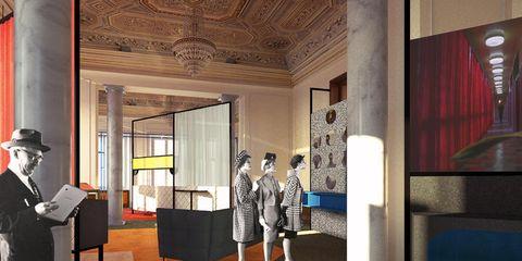 Lighting, Interior design, Floor, Ceiling, Interior design, Lobby, Carpet, Hall, Suit trousers, Molding,