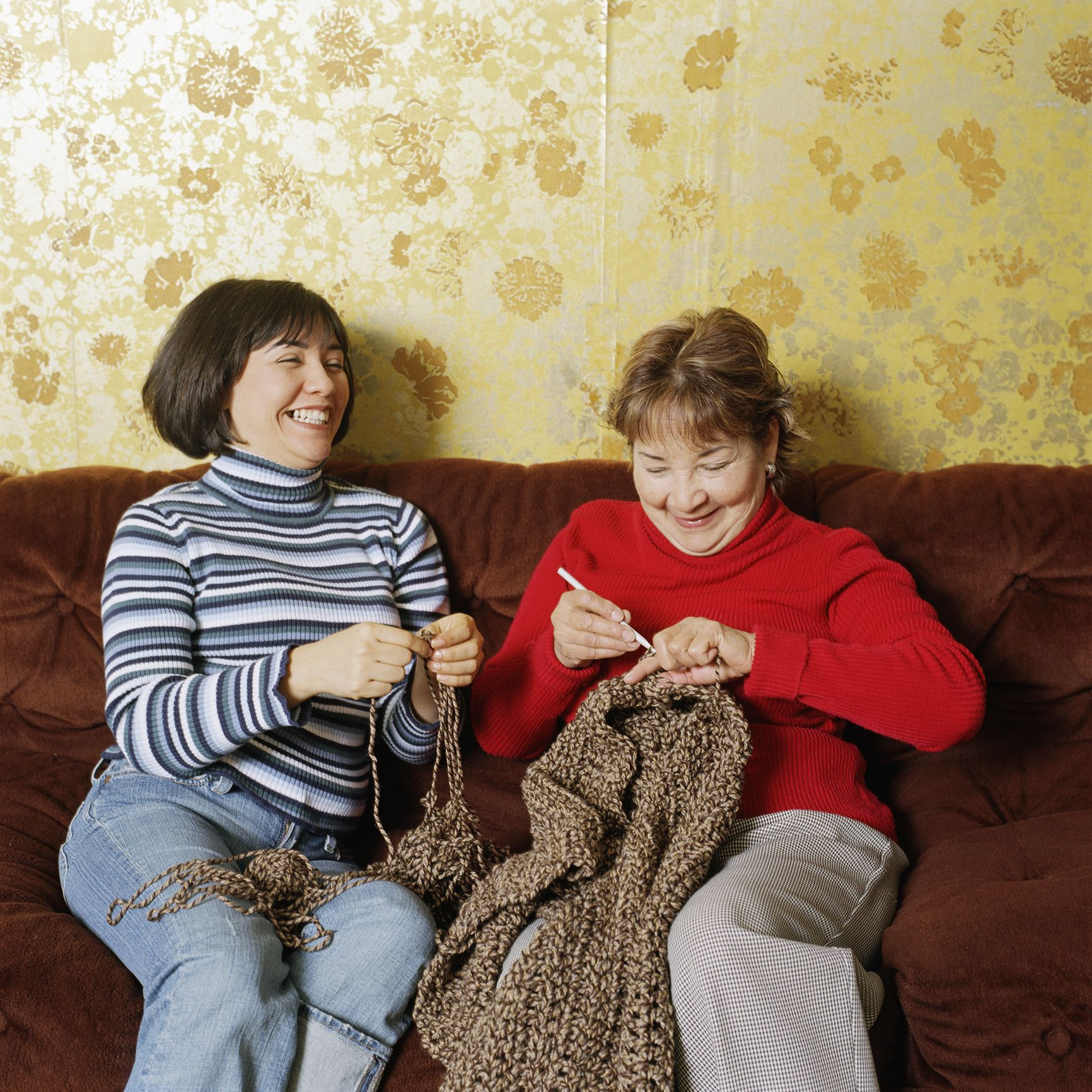 local library -- two women knitting