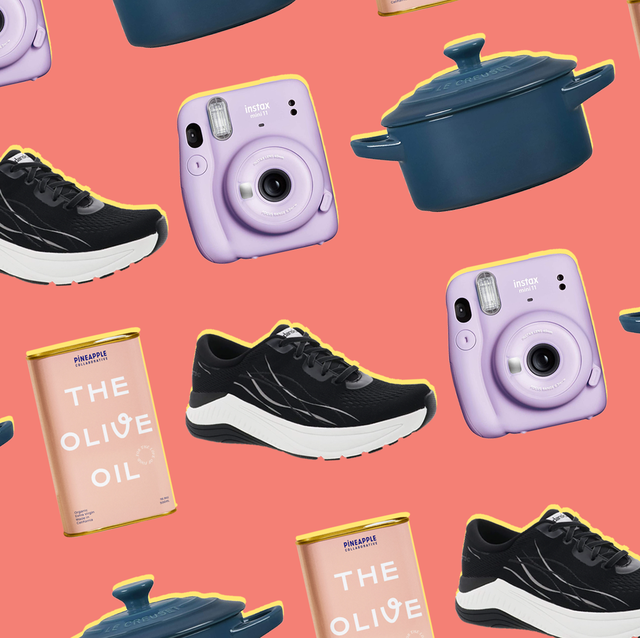 sneaker, olive oil, cast iron pot, and instant camera on pink background for mother's day gifts